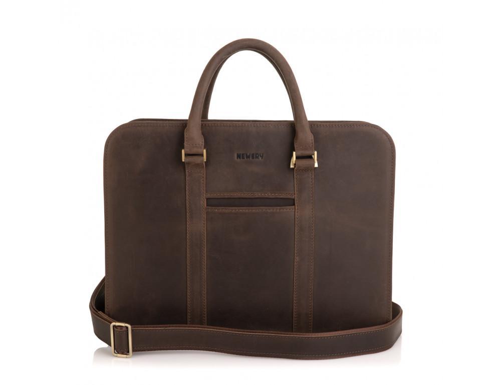 Стильный портфель из винтажной кожи коричневого цвета Newery N1992KC - Фото № 5