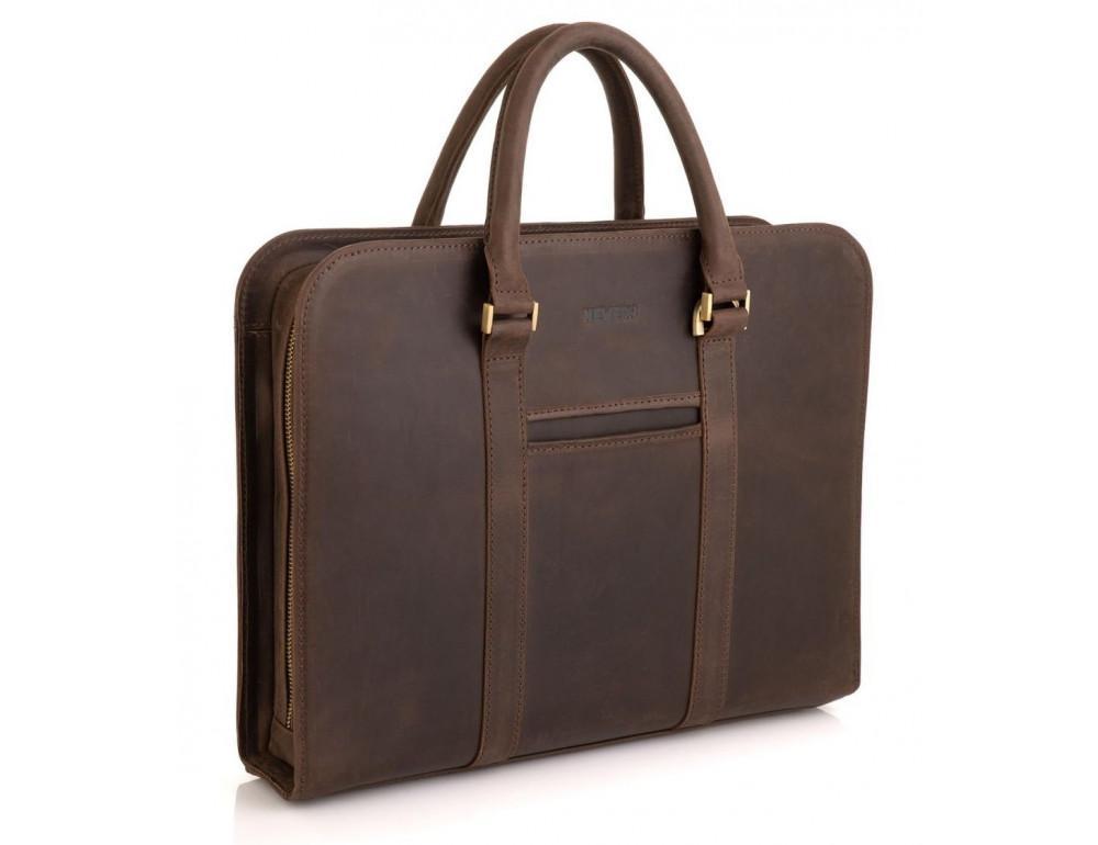Стильный портфель из винтажной кожи коричневого цвета Newery N1992KC