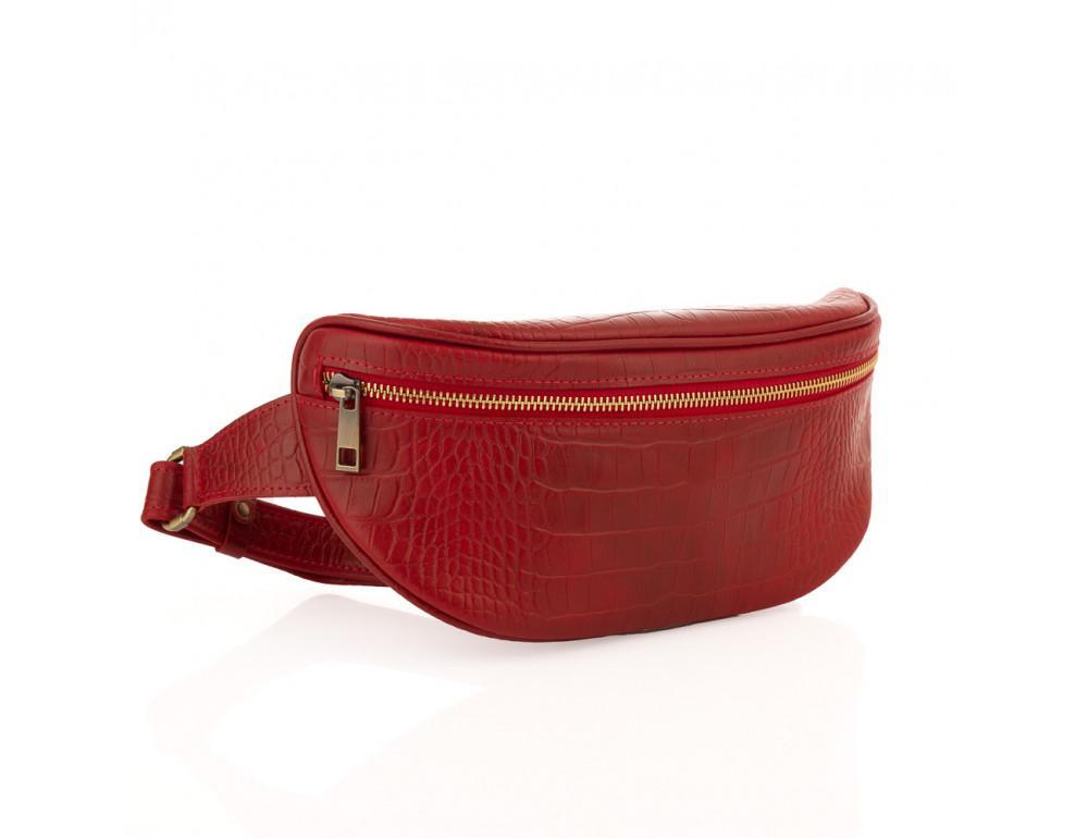Красная сумка на пояс из кожи под крокодила Newery N40298CRR - Фото № 1
