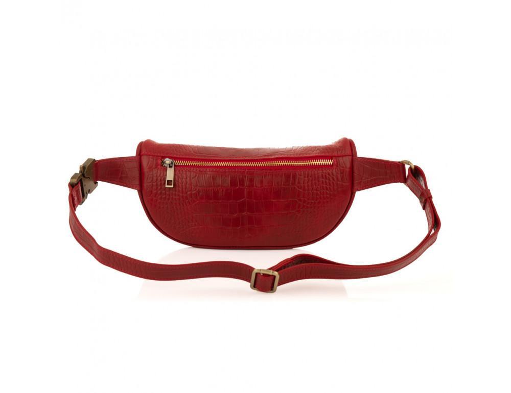 Красная сумка на пояс из кожи под крокодила Newery N40298CRR - Фото № 2