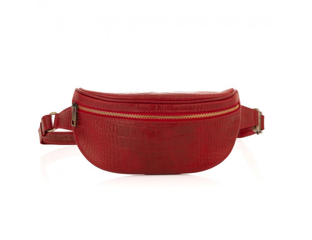 Красная сумка на пояс из кожи под крокодила Newery N40298CRR - Фото № 3