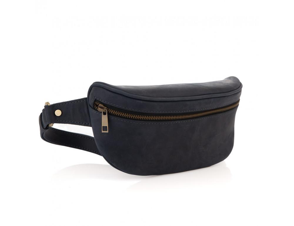 Синяя кожаная сумка на пояс Newery N40298KB - Фото № 1