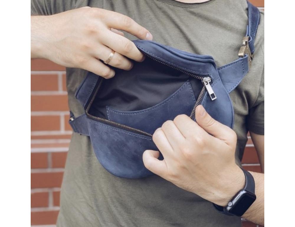 Синяя кожаная сумка на пояс Newery N40298KB - Фото № 3