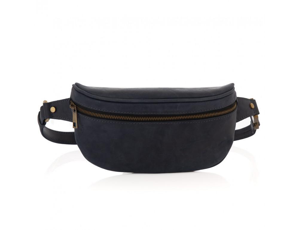 Синяя кожаная сумка на пояс Newery N40298KB - Фото № 5
