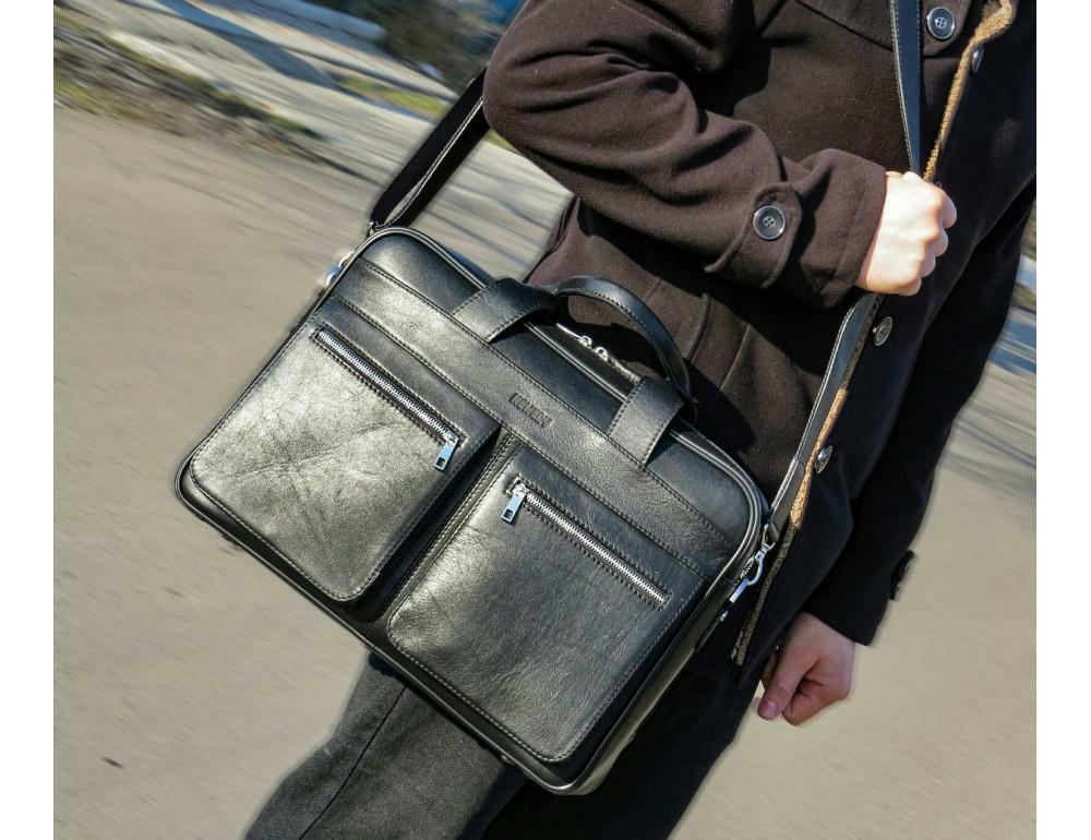 Чёрная деловая мужская сумка Newery N4032GA - Фото № 2