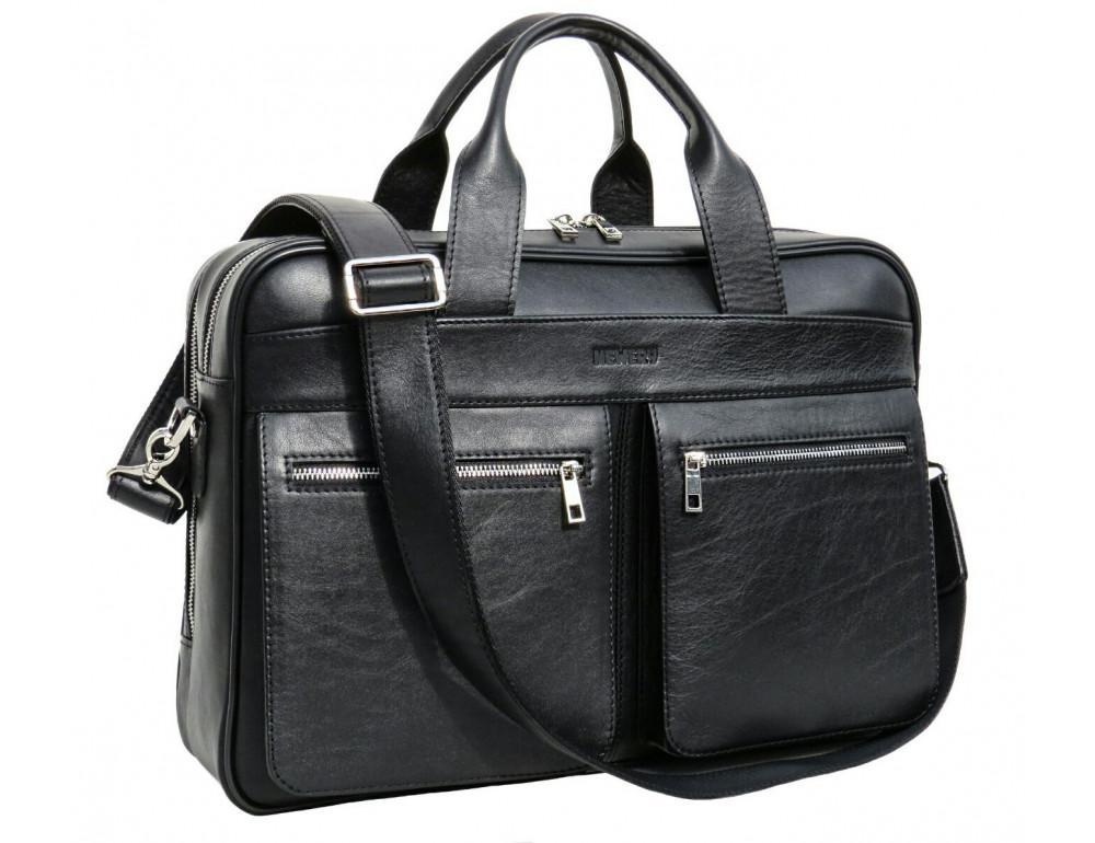 Чёрная деловая мужская сумка Newery N4032GA - Фото № 10