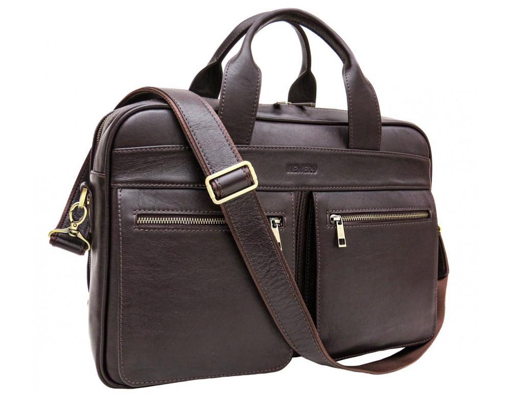 Коричневая мужская сумка под документы с двумя отделениями Newery N4032GC - Фото № 9