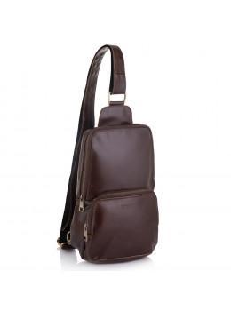 Бордово-коричнева шкіряна сумка слінг Newery N41719GX