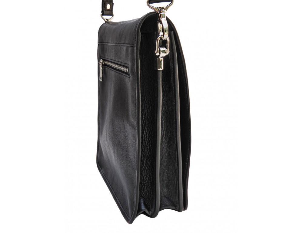Чёрная кожаная сумка через плечо из кожаным подкладом Newery N4227GA - Фото № 3