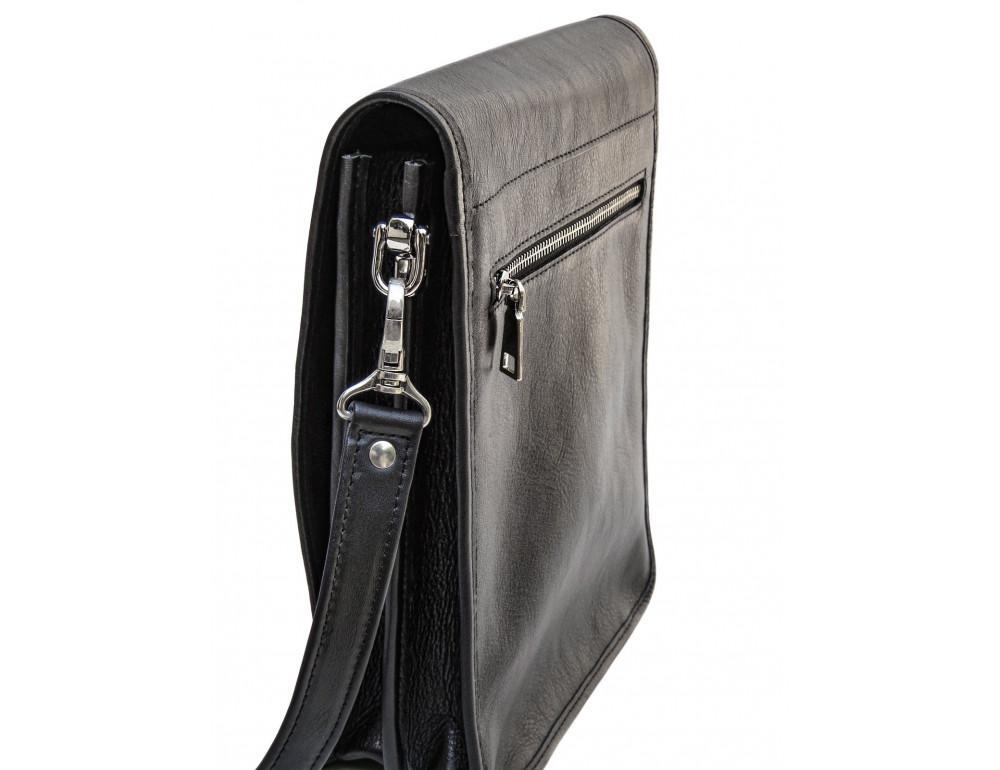 Чёрная кожаная сумка через плечо из кожаным подкладом Newery N4227GA - Фото № 4