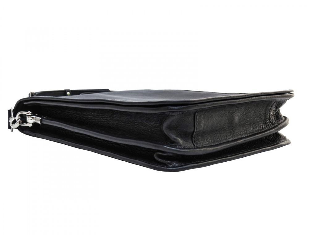 Чёрная кожаная сумка через плечо из кожаным подкладом Newery N4227GA - Фото № 5