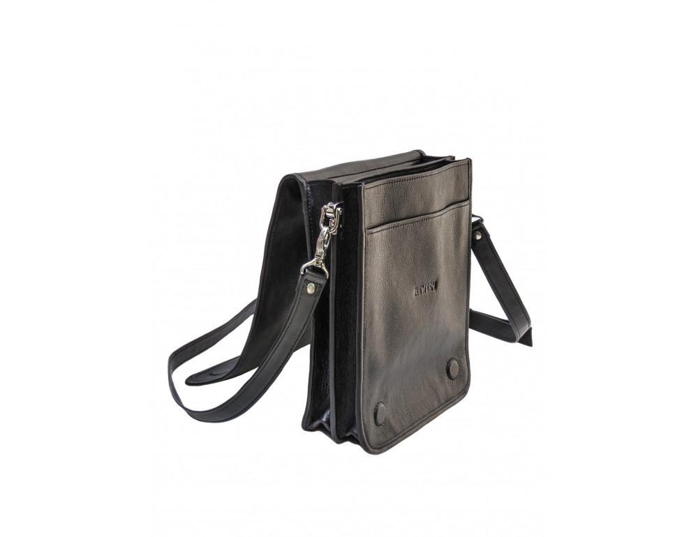 Чёрная кожаная сумка через плечо из кожаным подкладом Newery N4227GA - Фото № 6