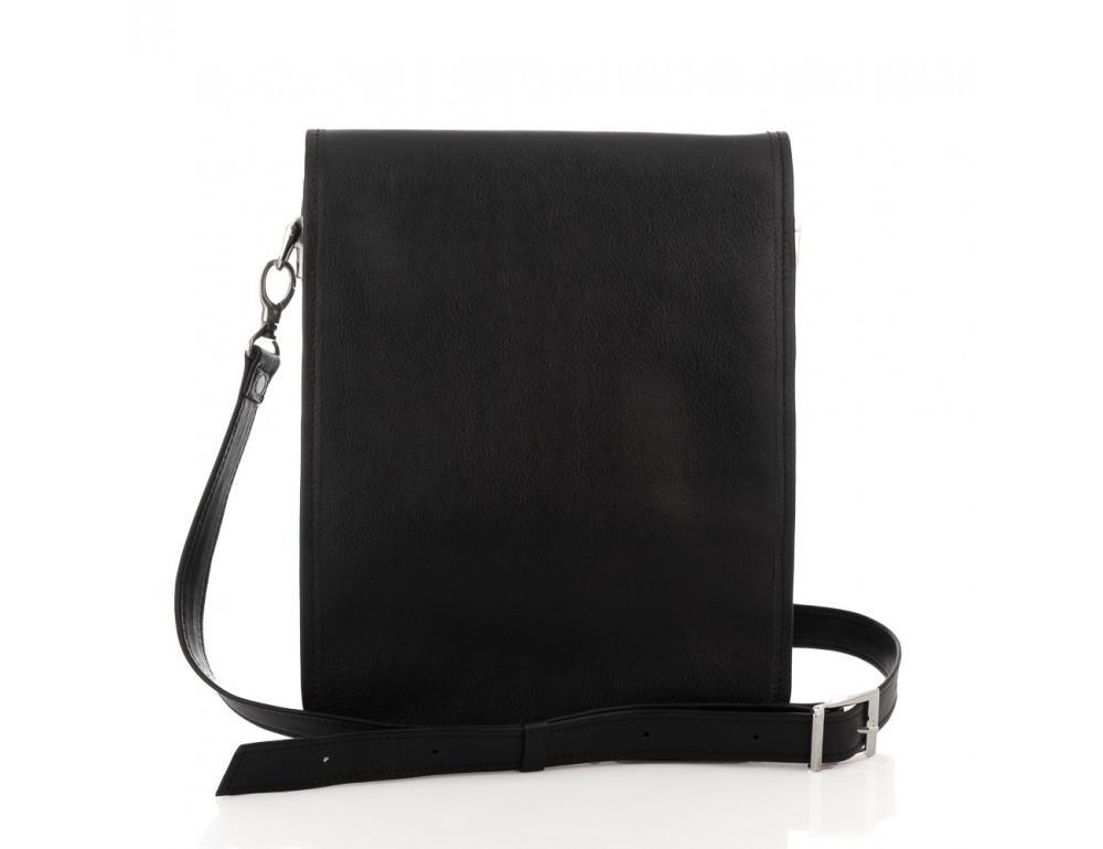 Чёрная кожаная сумка через плечо из кожаным подкладом Newery N4227GA - Фото № 7