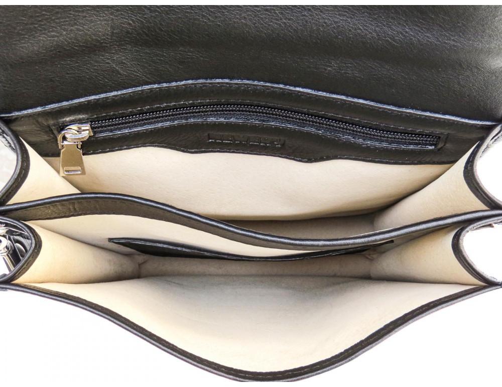 Чёрная кожаная сумка через плечо из кожаным подкладом Newery N4227GA - Фото № 8