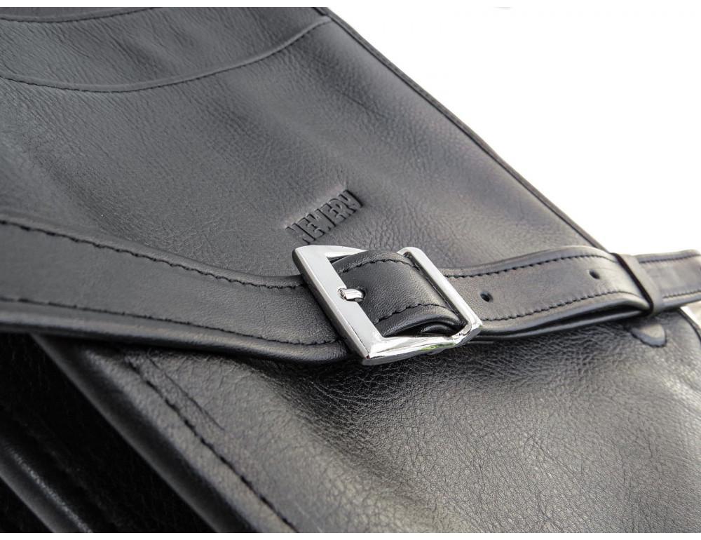 Чёрная кожаная сумка через плечо из кожаным подкладом Newery N4227GA - Фото № 9