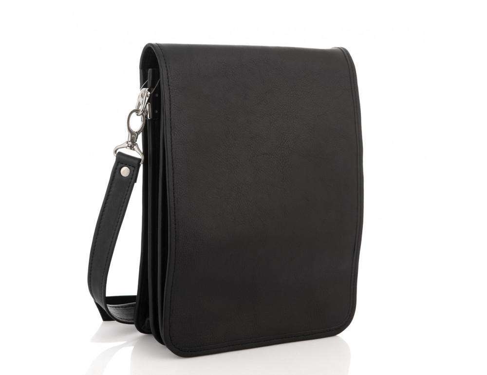 Чёрная кожаная сумка через плечо из кожаным подкладом Newery N4227GA - Фото № 1