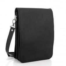 Чёрная кожаная сумка через плечо из кожаным подкладом Newery N4227GA