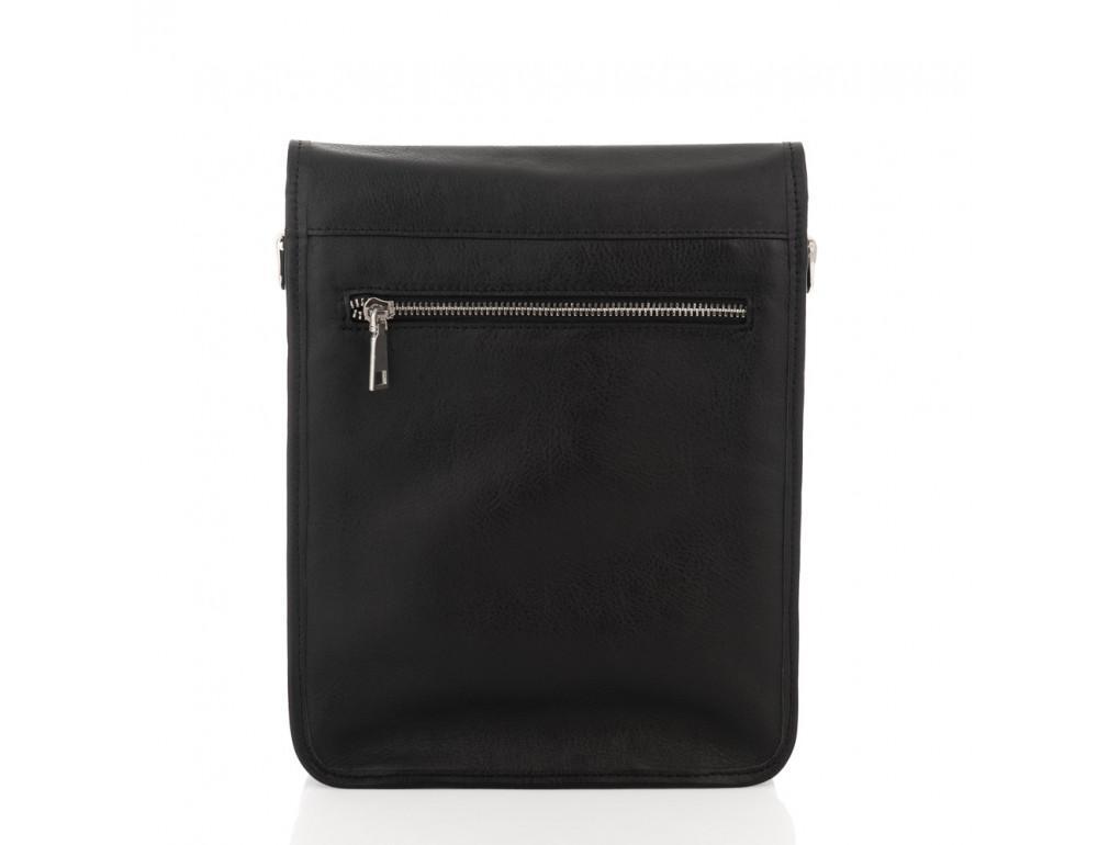 Чёрная кожаная сумка через плечо из кожаным подкладом Newery N4227GA - Фото № 2