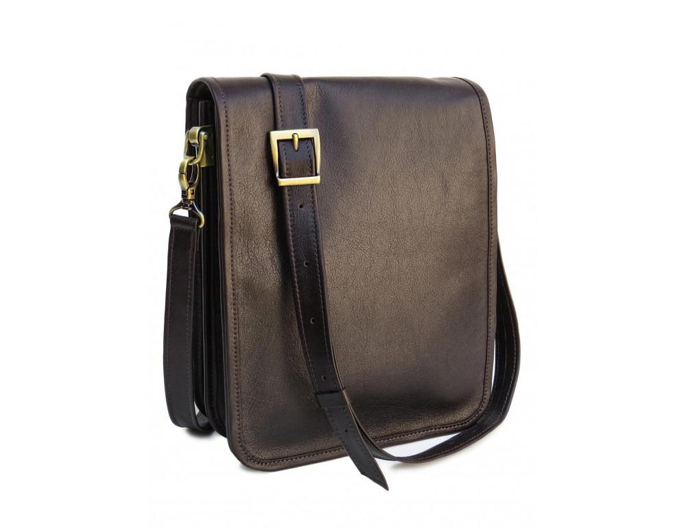 Тёмно-коричневая кожаная сумка через плечо Newery N4227GC - Фото № 1
