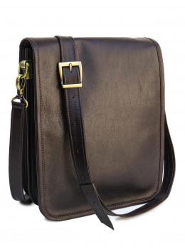 Тёмно-коричневая кожаная сумка через плечо Newery N4227GC