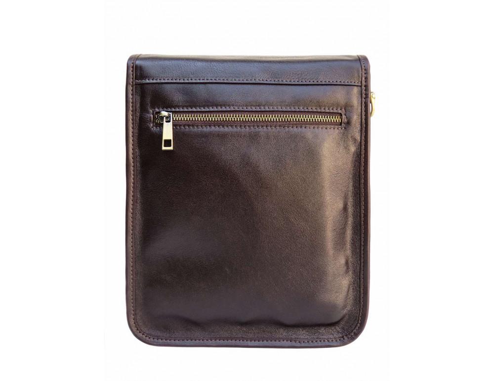 Тёмно-коричневая кожаная сумка через плечо Newery N4227GC - Фото № 2