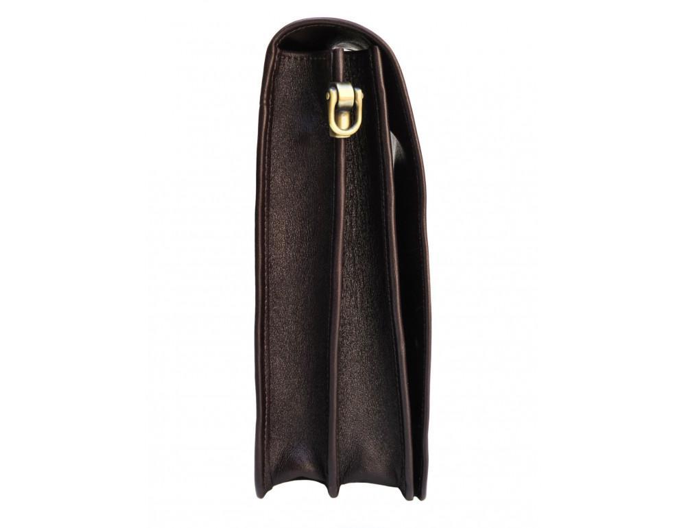 Тёмно-коричневая кожаная сумка через плечо Newery N4227GC - Фото № 3