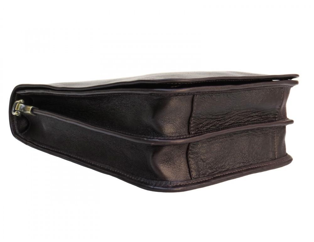 Тёмно-коричневая кожаная сумка через плечо Newery N4227GC - Фото № 4