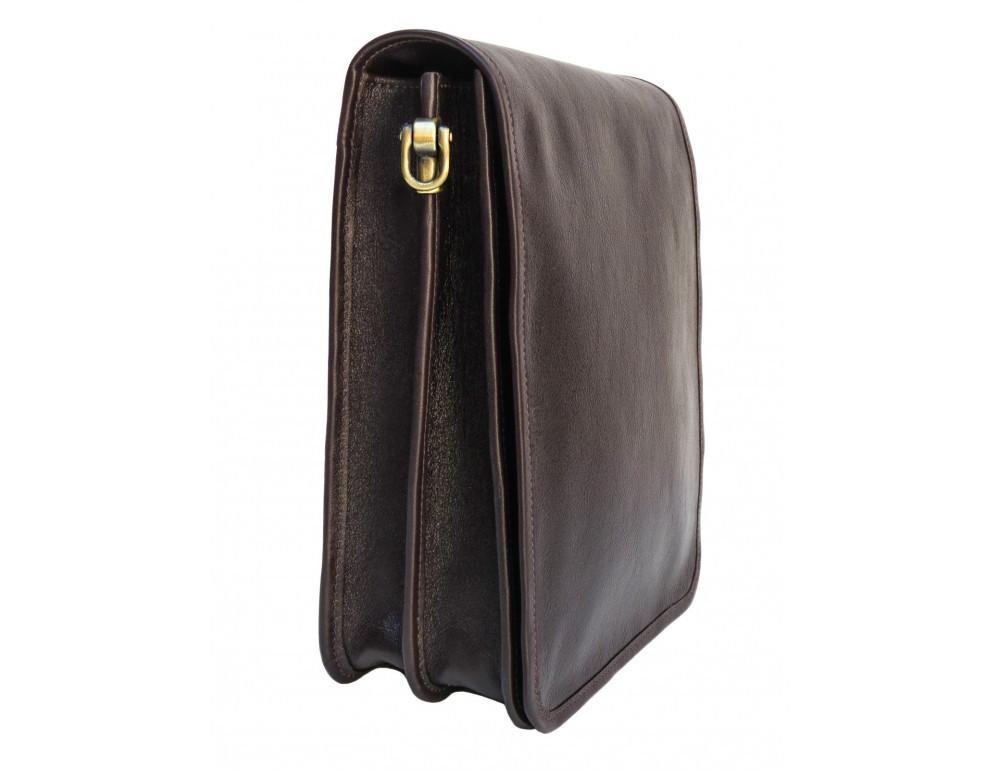Тёмно-коричневая кожаная сумка через плечо Newery N4227GC - Фото № 5