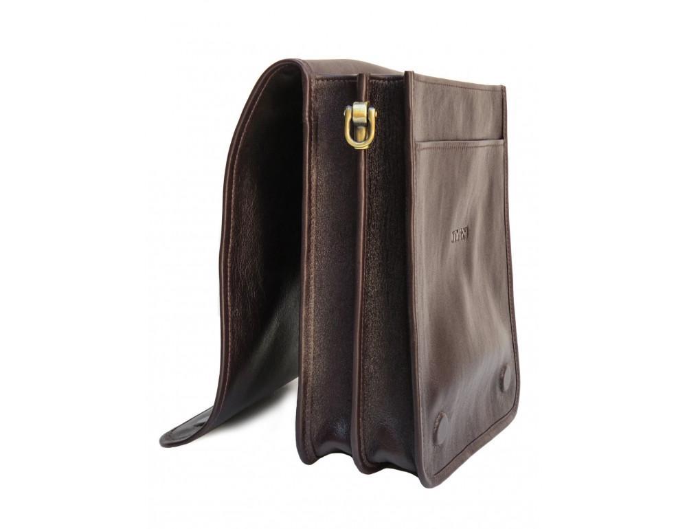 Тёмно-коричневая кожаная сумка через плечо Newery N4227GC - Фото № 6