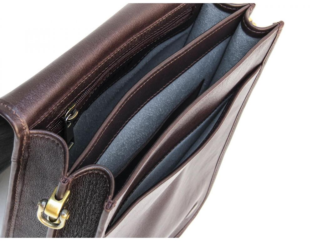 Тёмно-коричневая кожаная сумка через плечо Newery N4227GC - Фото № 7