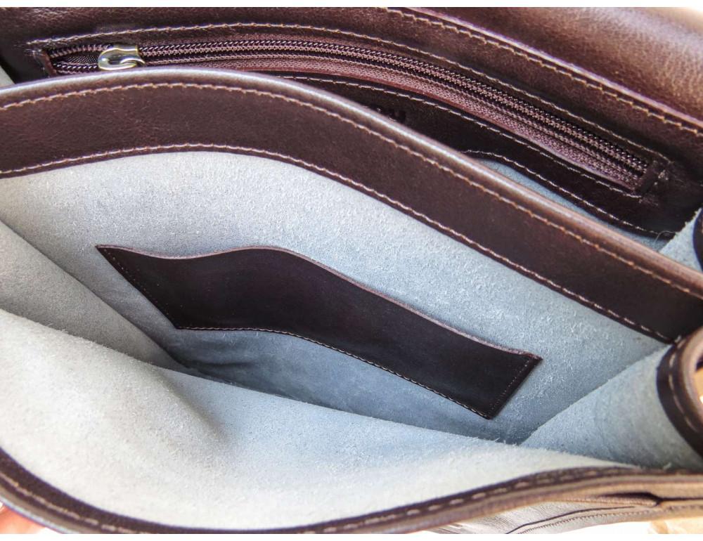 Тёмно-коричневая кожаная сумка через плечо Newery N4227GC - Фото № 8