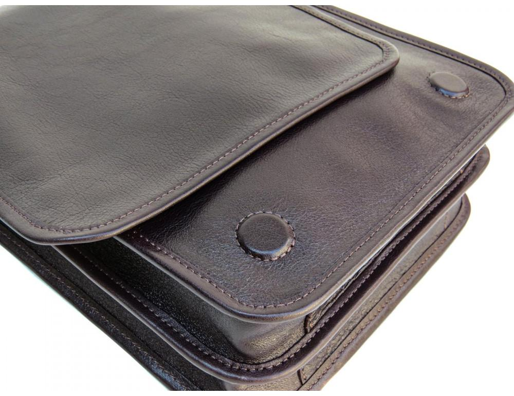 Тёмно-коричневая кожаная сумка через плечо Newery N4227GC - Фото № 10