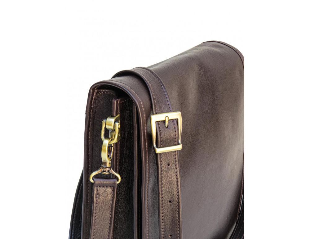 Тёмно-коричневая кожаная сумка через плечо Newery N4227GC - Фото № 11