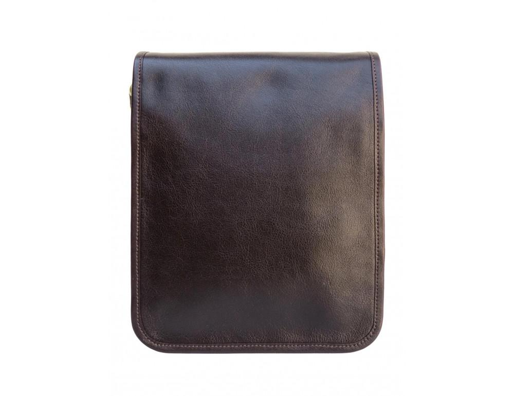 Тёмно-коричневая кожаная сумка через плечо Newery N4227GC - Фото № 12