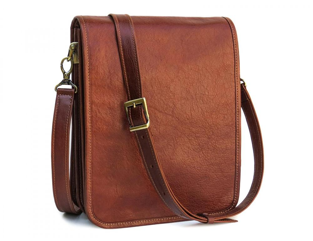 Рыжая кожаная сумка через плечо Newery N4227GCR - Фото № 1