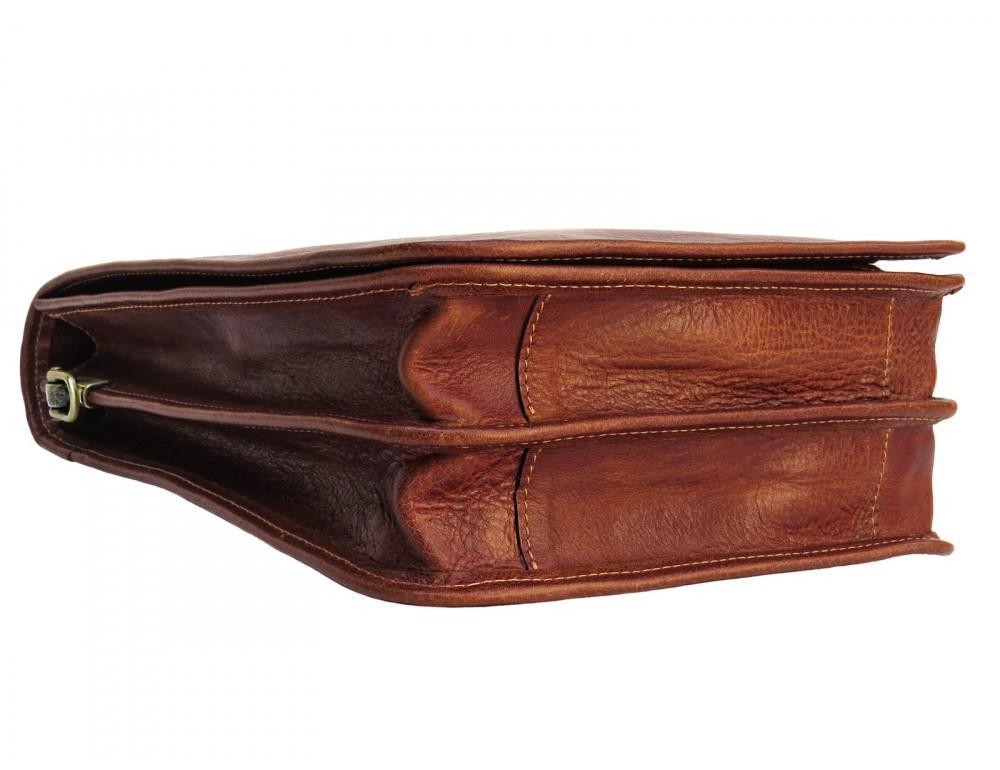 Рыжая кожаная сумка через плечо Newery N4227GCR - Фото № 4