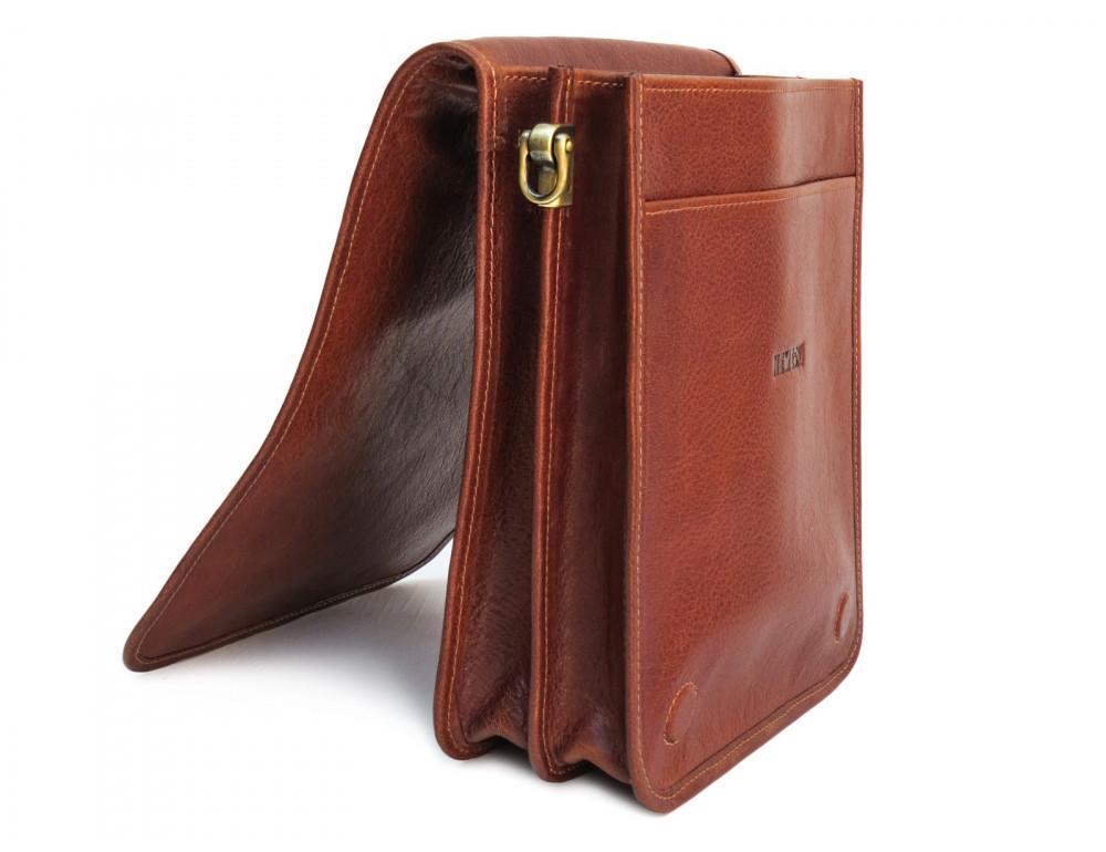 Рыжая кожаная сумка через плечо Newery N4227GCR - Фото № 5