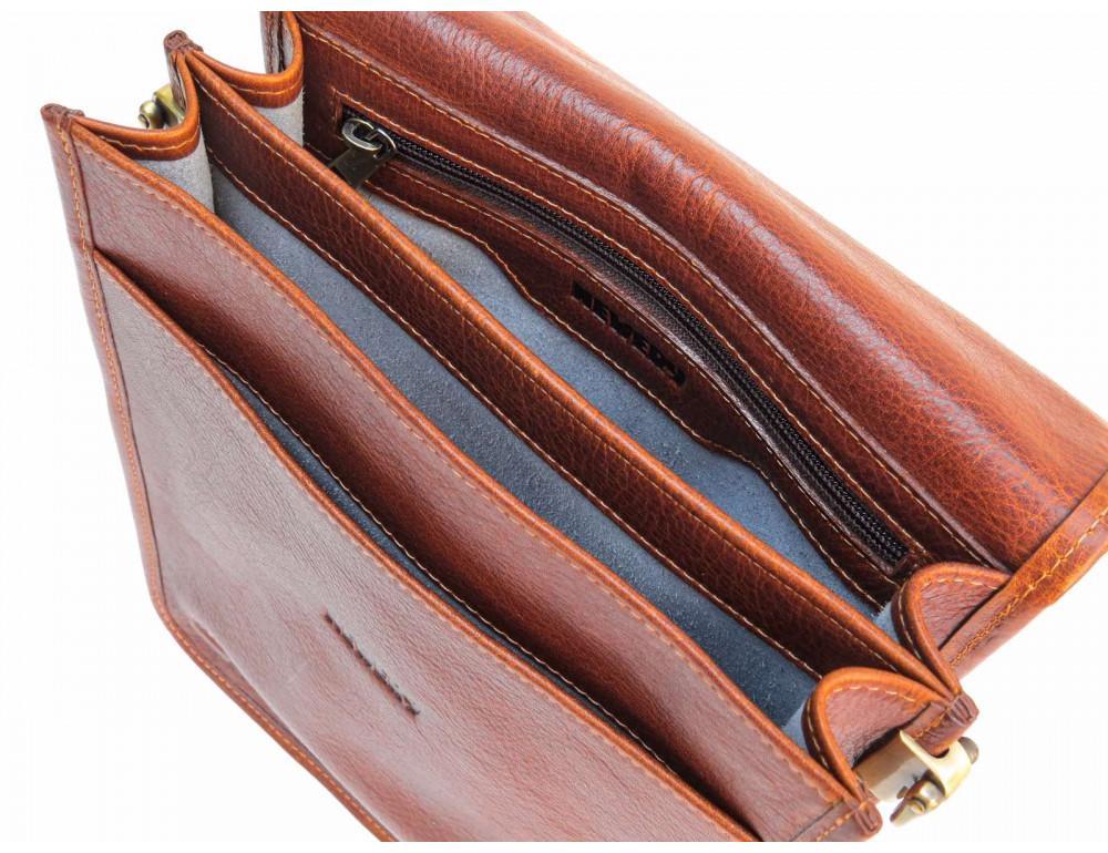 Рыжая кожаная сумка через плечо Newery N4227GCR - Фото № 6