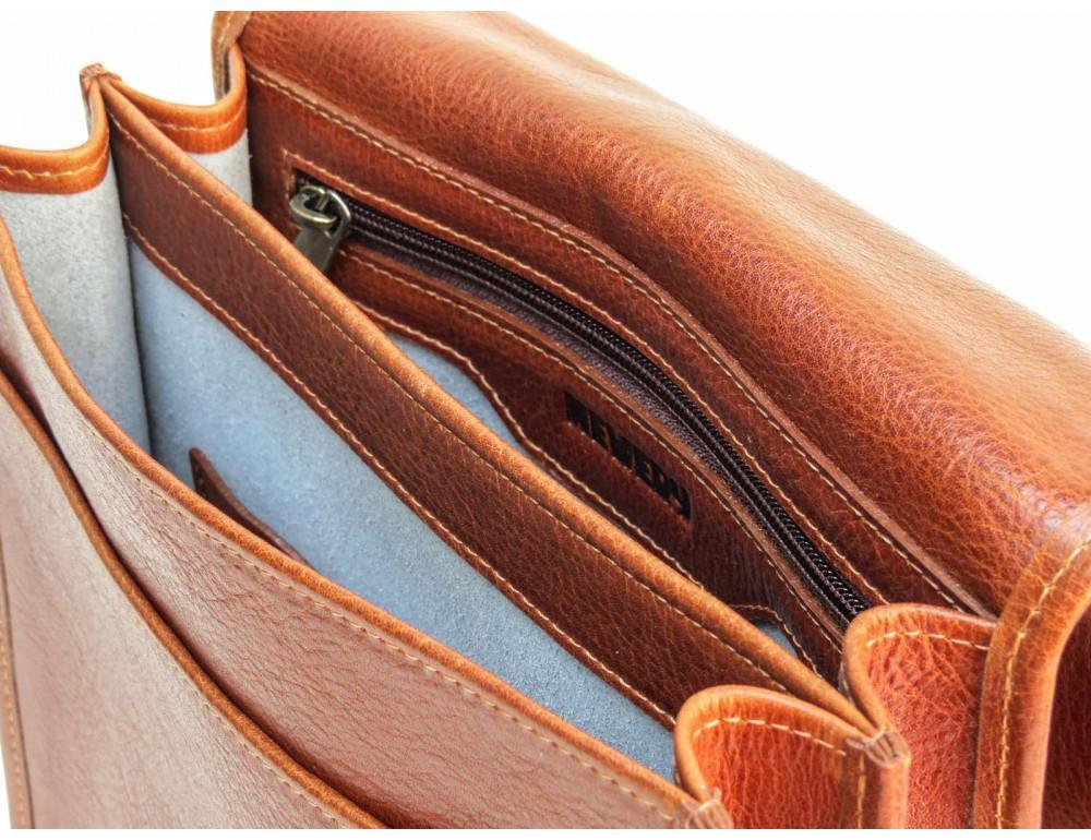 Рыжая кожаная сумка через плечо Newery N4227GCR - Фото № 7