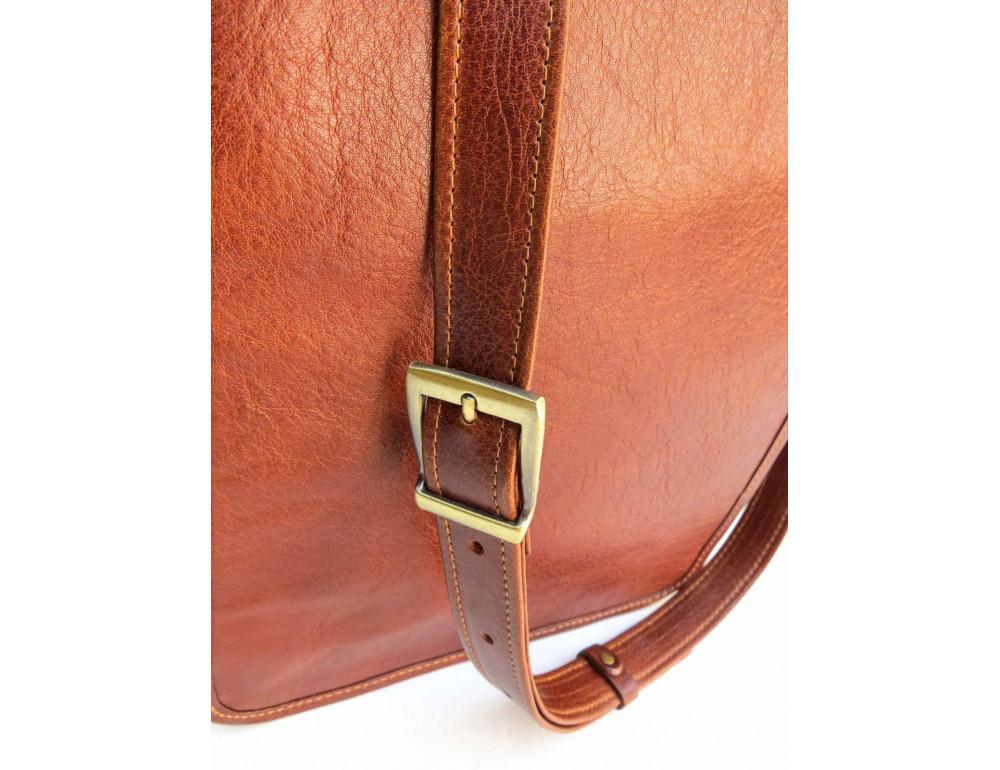 Рыжая кожаная сумка через плечо Newery N4227GCR - Фото № 10