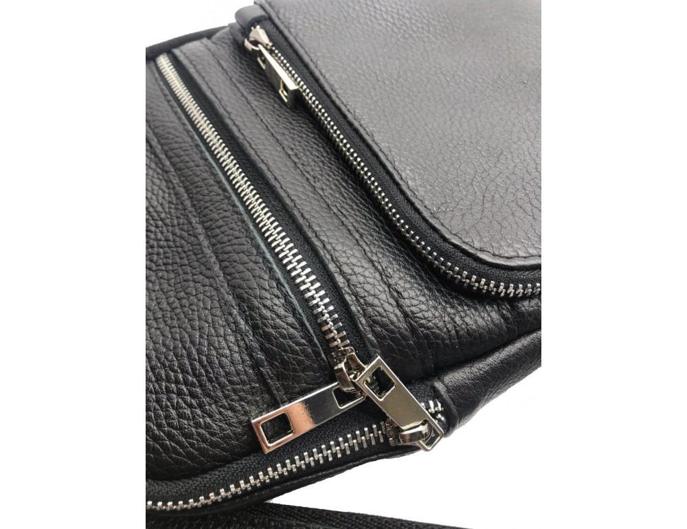 Чёрная кожаная сумка через плечо Newery N6896FA - Фото № 4
