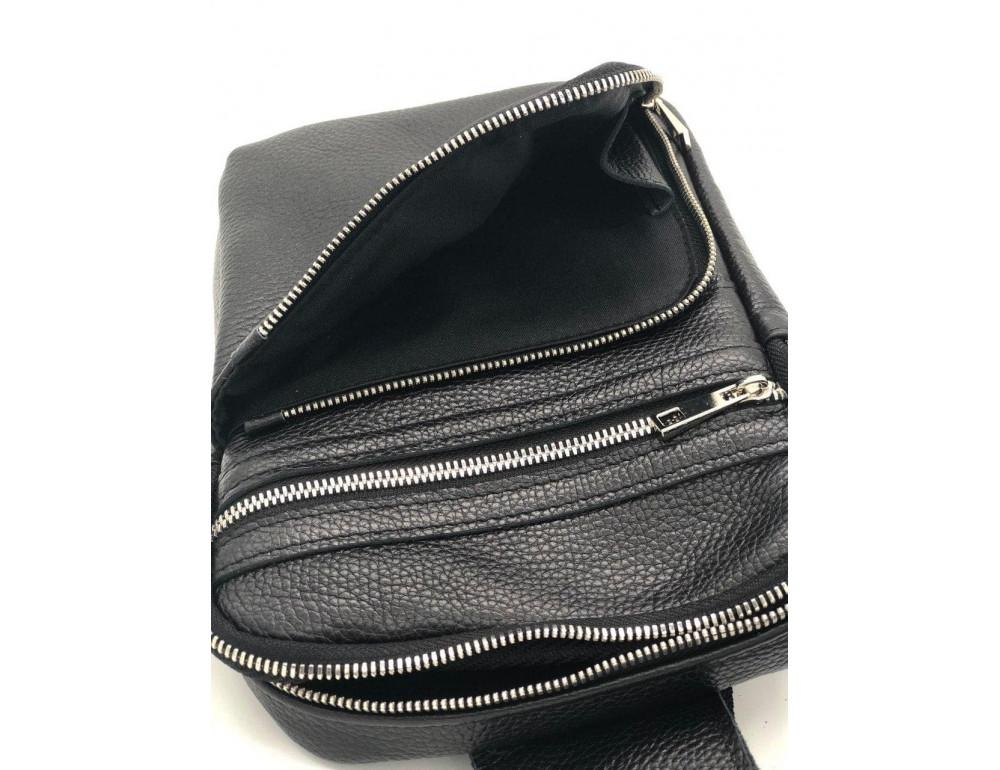 Чёрная кожаная сумка через плечо Newery N6896FA - Фото № 5