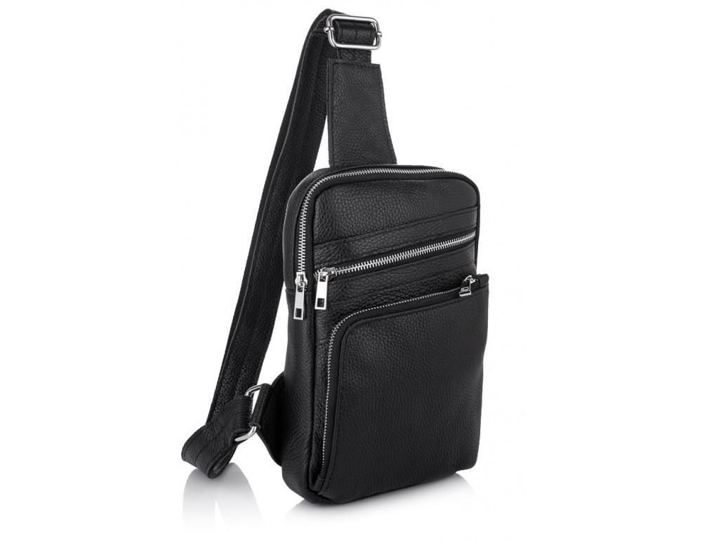 Чёрная кожаная сумка через плечо Newery N6896FA - Фото № 1