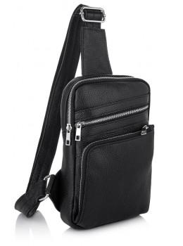 Чорна шкіряна сумка через плече Newery N6896FA