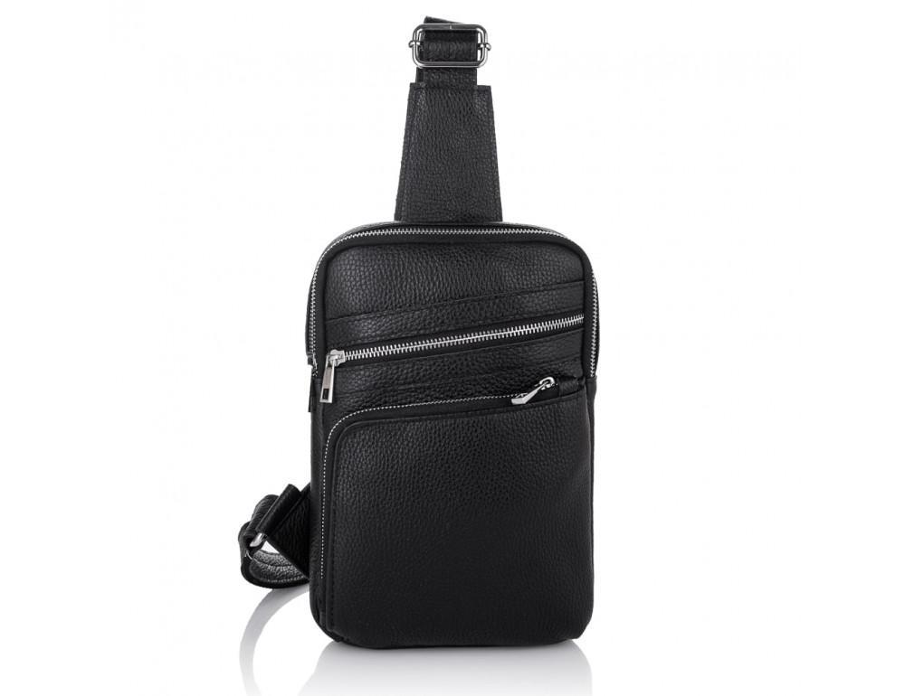Чёрная кожаная сумка через плечо Newery N6896FA - Фото № 2