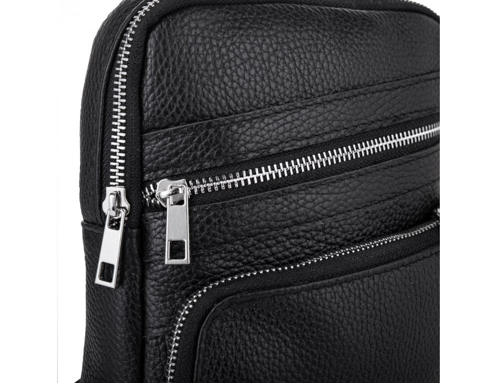 Чёрная кожаная сумка через плечо Newery N6896FA - Фото № 6