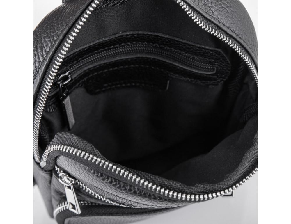 Чёрная кожаная сумка через плечо Newery N6896FA - Фото № 7