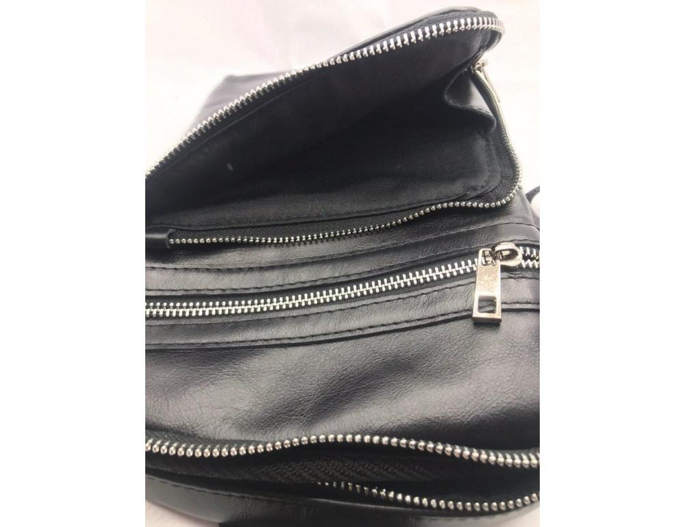 Чёрная кожаная сумка-рюкзак через плечо Newery N6896GA - Фото № 5