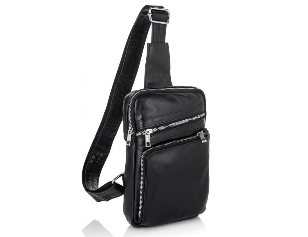 Чёрная кожаная сумка-рюкзак через плечо Newery N6896GA