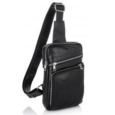 Чорна шкіряна сумка-рюкзак через плече Newery N6896GA